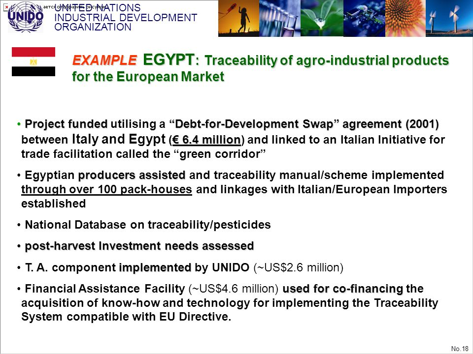 UNITED NATIONS INDUSTRIAL DEVELOPMENT ORGANIZATION No.18 Project fundedDebt-for-Development Swap agreement (2001) 6.4 million Project funded utilising