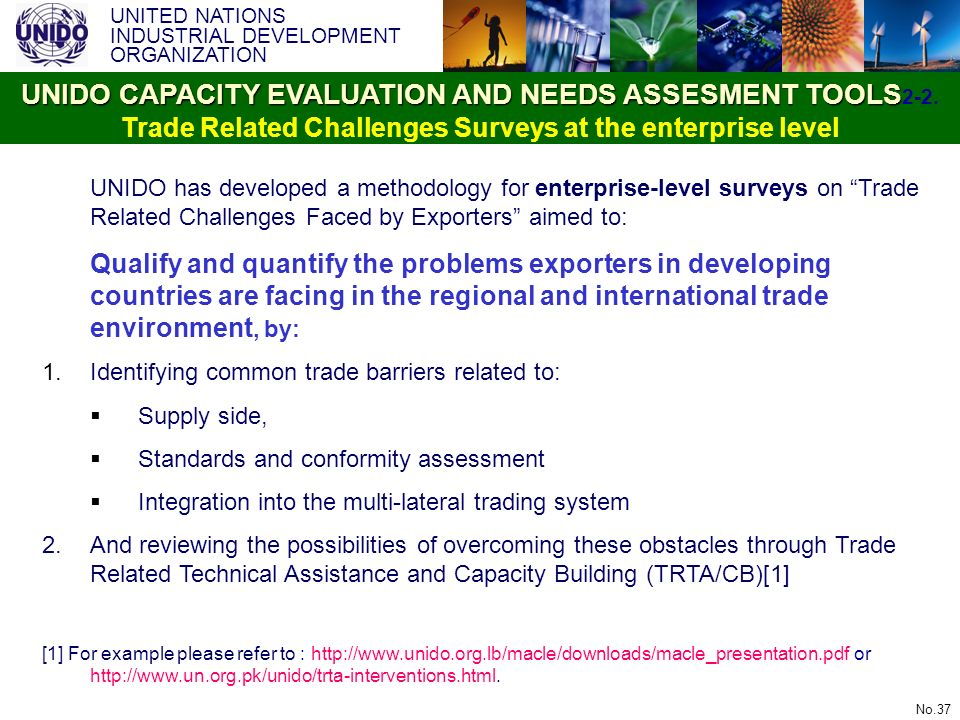 UNITED NATIONS INDUSTRIAL DEVELOPMENT ORGANIZATION No.37 UNIDO has developed a methodology for enterprise-level surveys on Trade Related Challenges Fa