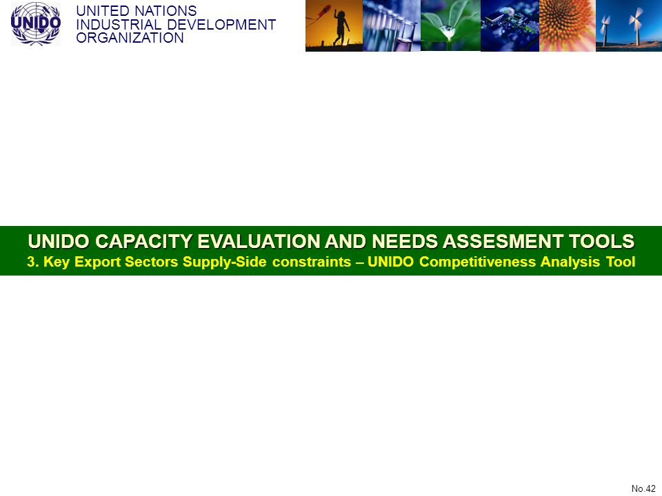 UNITED NATIONS INDUSTRIAL DEVELOPMENT ORGANIZATION No.42 UNIDO CAPACITY EVALUATION AND NEEDS ASSESMENT TOOLS UNIDO CAPACITY EVALUATION AND NEEDS ASSES