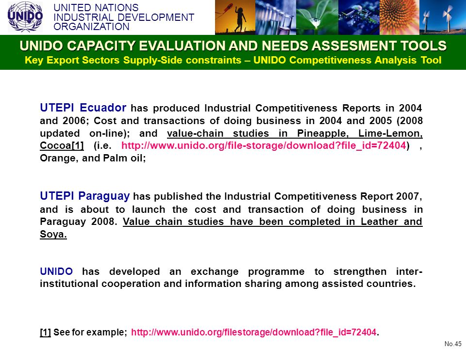 UNITED NATIONS INDUSTRIAL DEVELOPMENT ORGANIZATION No.45 UTEPI Ecuador has produced Industrial Competitiveness Reports in 2004 and 2006; Cost and tran