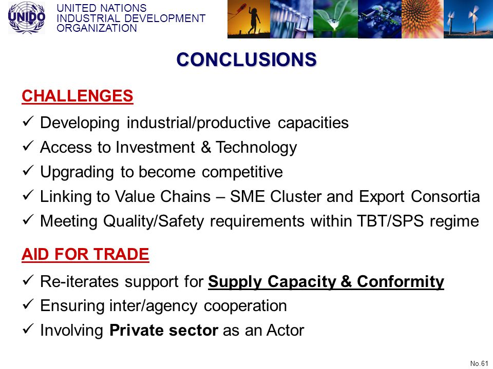 UNITED NATIONS INDUSTRIAL DEVELOPMENT ORGANIZATION No.61 CONCLUSIONS CHALLENGES Developing industrial/productive capacities Access to Investment & Tec