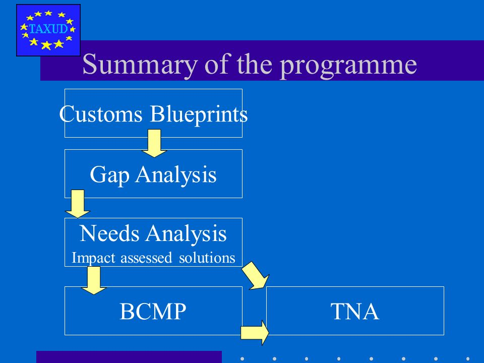 Activities listed in the Needs Analysis (impact assessed solutions) requesting external assistance (in the order of the BCMP Summary) TNA includes estimation of budget and staff To be finalised for individual countries Technical Needs Analysis (TNA)