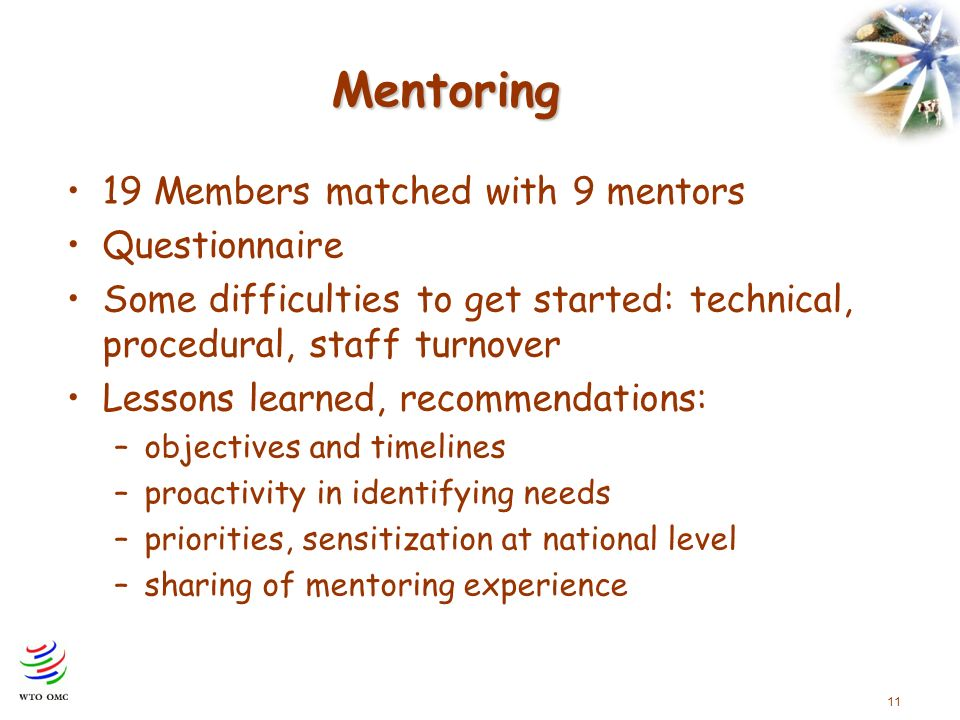 11 Mentoring 19 Members matched with 9 mentors Questionnaire Some difficulties to get started: technical, procedural, staff turnover Lessons learned, recommendations: –objectives and timelines –proactivity in identifying needs –priorities, sensitization at national level –sharing of mentoring experience