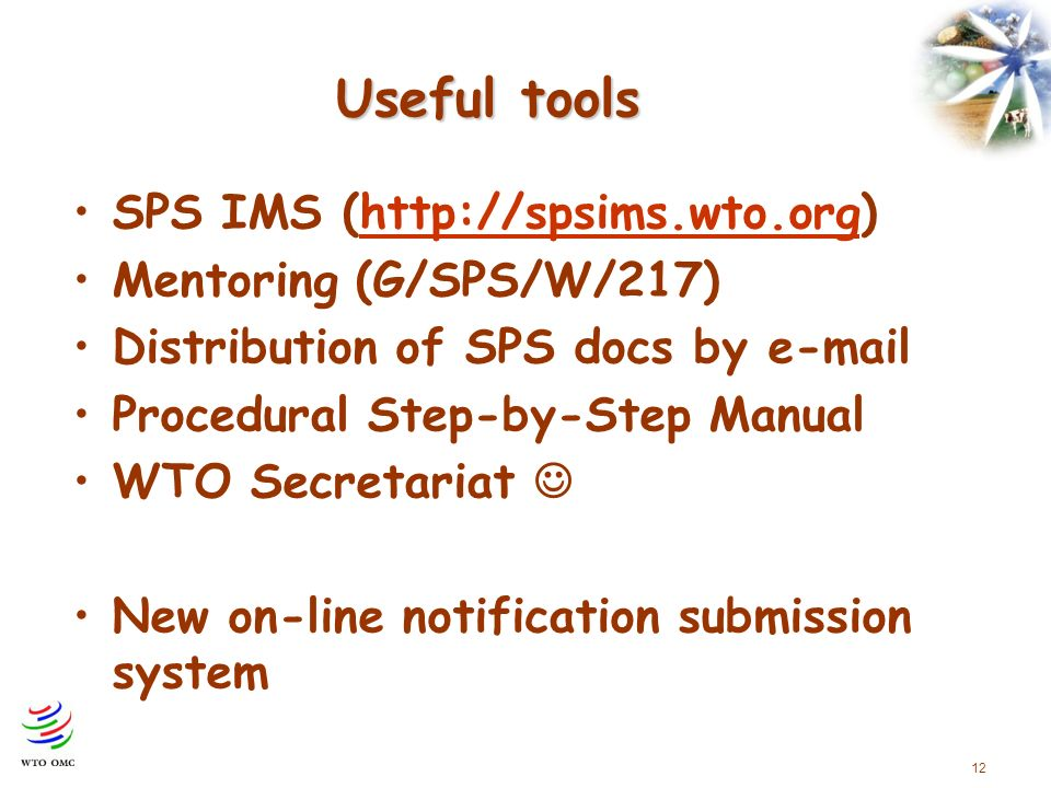 12 Useful tools SPS IMS (http://spsims.wto.org)http://spsims.wto.org Mentoring (G/SPS/W/217) Distribution of SPS docs by e-mail Procedural Step-by-Step Manual WTO Secretariat New on-line notification submission system