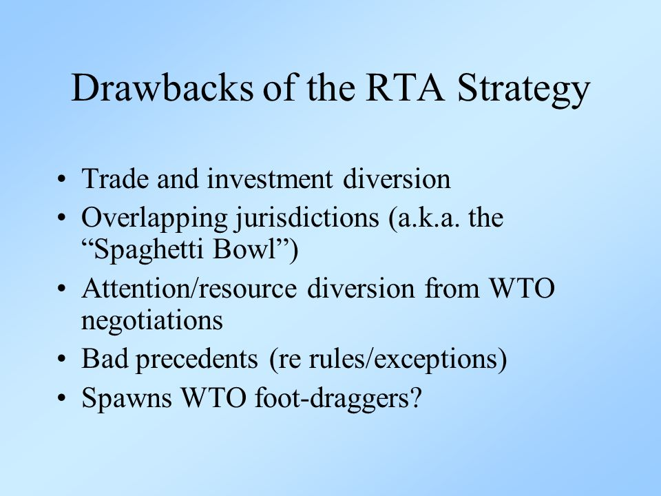 Promoting complementary WTO reforms Improve WTO rules for RTAs –Indicative guidelines for rules of origin and contingent protection –Commitment by RTA members to harmonize and lower their MFN tariffs over a 10-year period More active surveillance after pacts enter into force –TPRM ex post analysis –External assessment of RTA impacts after 5-7 years Continue to advance WTO reforms!