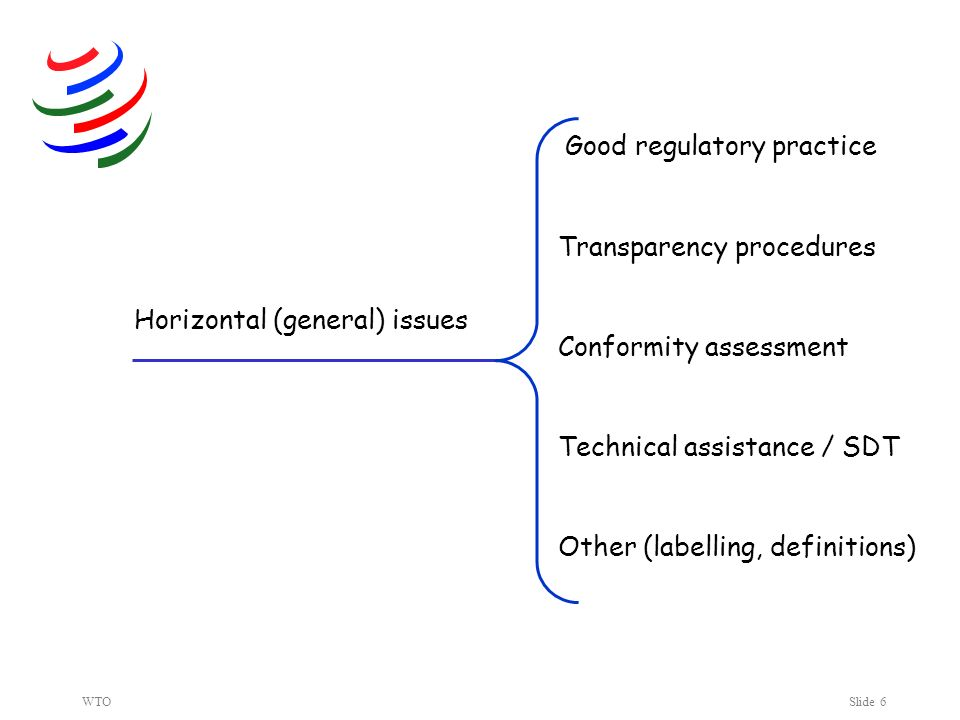 WTOSlide 6 Horizontal (general) issues Good regulatory practice Transparency procedures Conformity assessment Technical assistance / SDT Other (labelling, definitions)