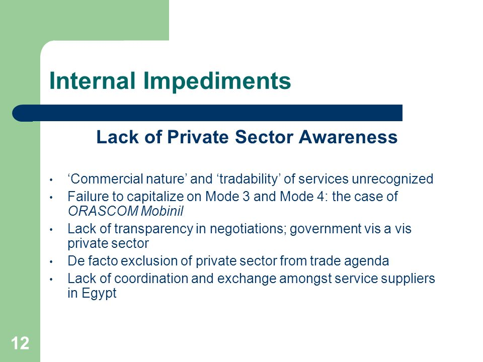 12 Internal Impediments Lack of Private Sector Awareness Commercial nature and tradability of services unrecognized Failure to capitalize on Mode 3 an