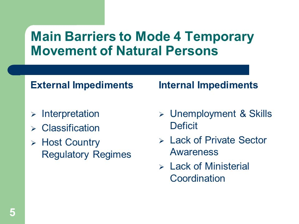 5 Main Barriers to Mode 4 Temporary Movement of Natural Persons External Impediments Interpretation Classification Host Country Regulatory Regimes Internal Impediments Unemployment & Skills Deficit Lack of Private Sector Awareness Lack of Ministerial Coordination