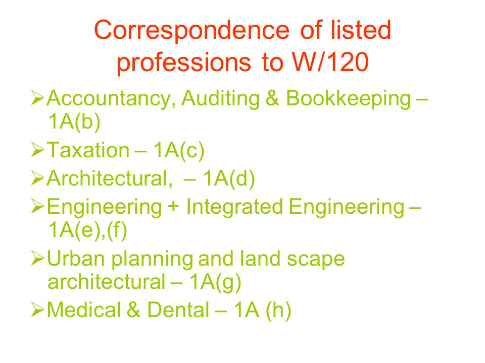 Correspondence of listed professions to W/120 Accountancy, Auditing & Bookkeeping – 1A(b) Taxation – 1A(c) Architectural, – 1A(d) Engineering + Integrated Engineering – 1A(e),(f) Urban planning and land scape architectural – 1A(g) Medical & Dental – 1A (h)