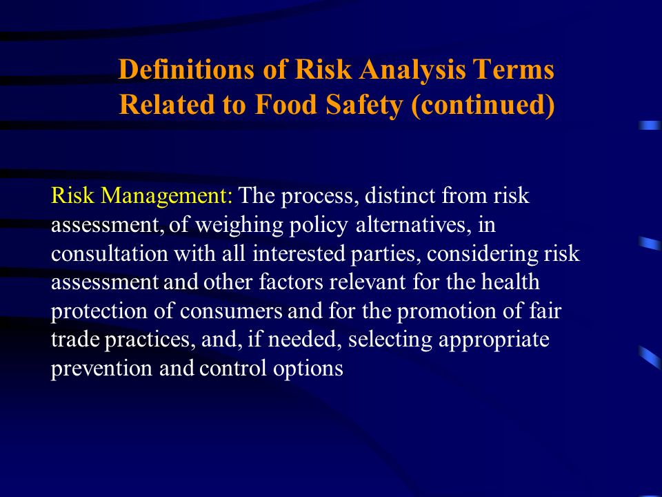 Definitions of Risk Analysis Terms Related to Food Safety (continued) Risk Management: The process, distinct from risk assessment, of weighing policy