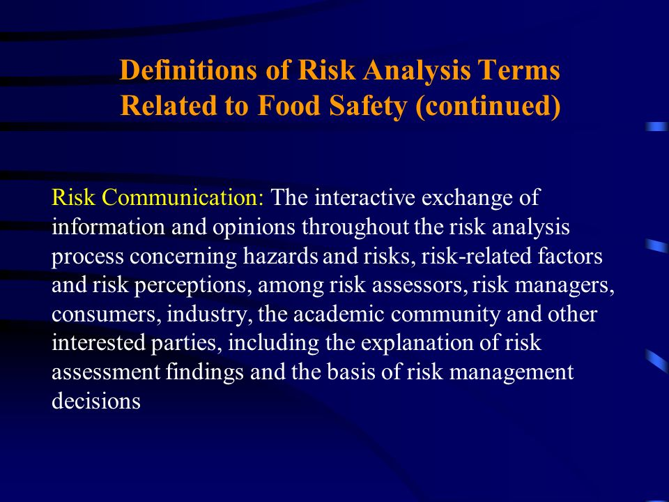 Definitions of Risk Analysis Terms Related to Food Safety (continued) Risk Communication: The interactive exchange of information and opinions through