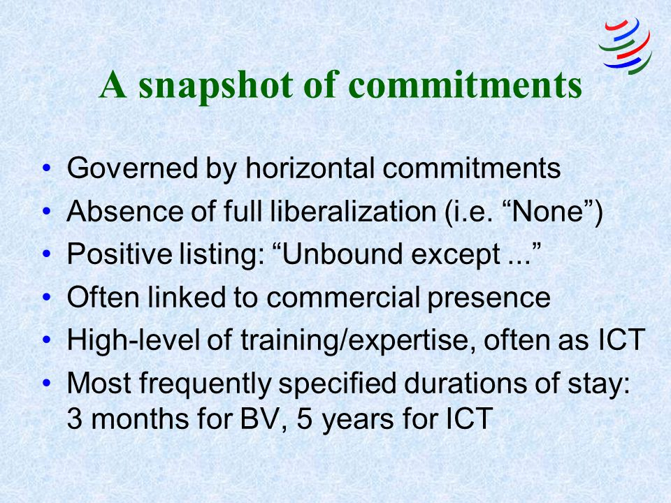 A snapshot of commitments Governed by horizontal commitments Absence of full liberalization (i.e.