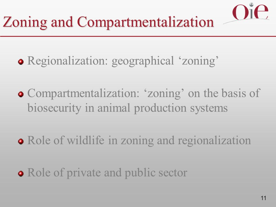 11 Zoning and Compartmentalization Regionalization: geographical zoning Compartmentalization: zoning on the basis of biosecurity in animal production