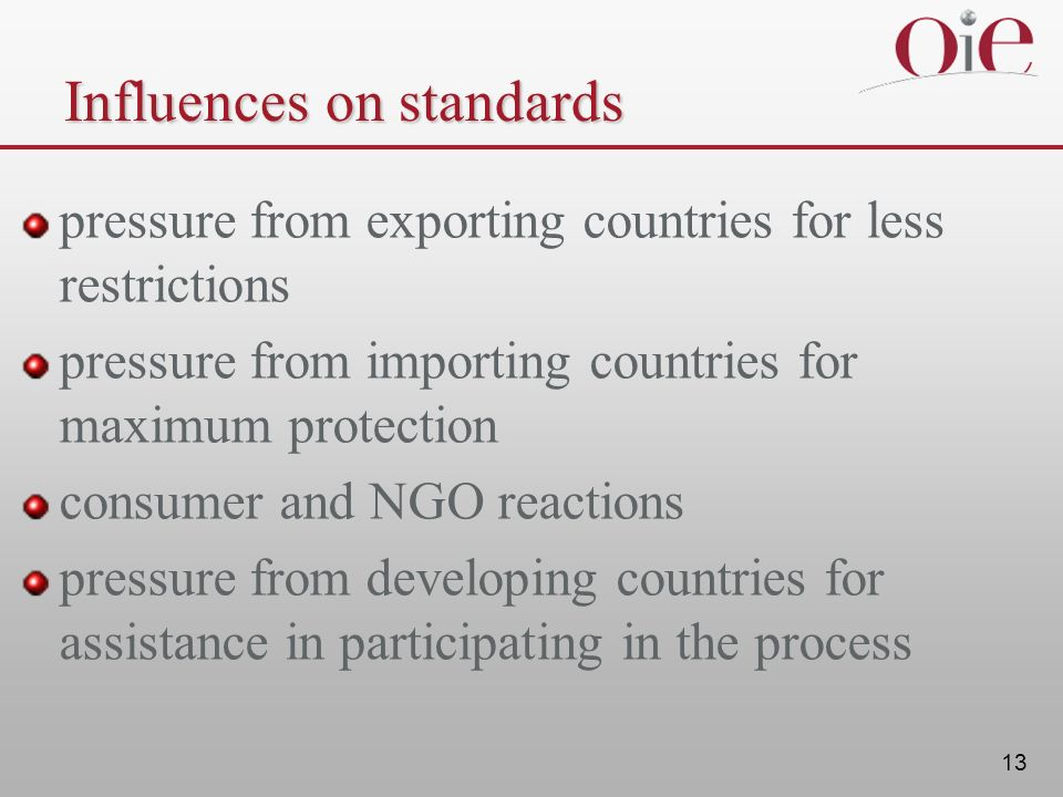 13 Influences on standards pressure from exporting countries for less restrictions pressure from importing countries for maximum protection consumer a