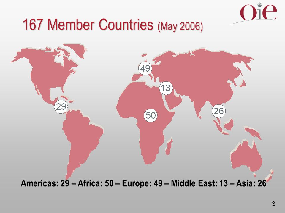 3 167 Member Countries (May 2006) Americas: 29 – Africa: 50 – Europe: 49 – Middle East: 13 – Asia: 26