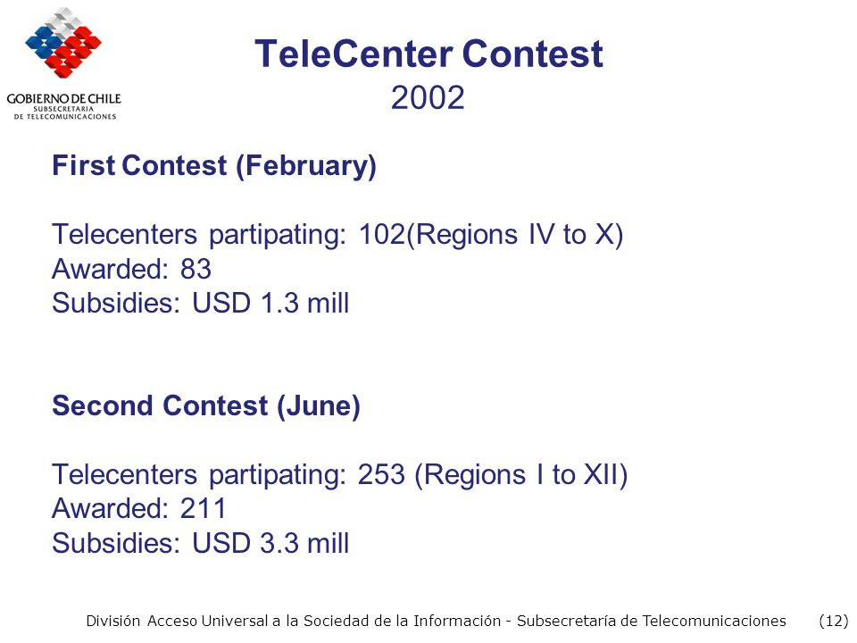 (12) División Acceso Universal a la Sociedad de la Información - Subsecretaría de Telecomunicaciones TeleCenter Contest 2002 First Contest (February) Telecenters partipating: 102(Regions IV to X) Awarded: 83 Subsidies: USD 1.3 mill Second Contest (June) Telecenters partipating: 253 (Regions I to XII) Awarded: 211 Subsidies: USD 3.3 mill