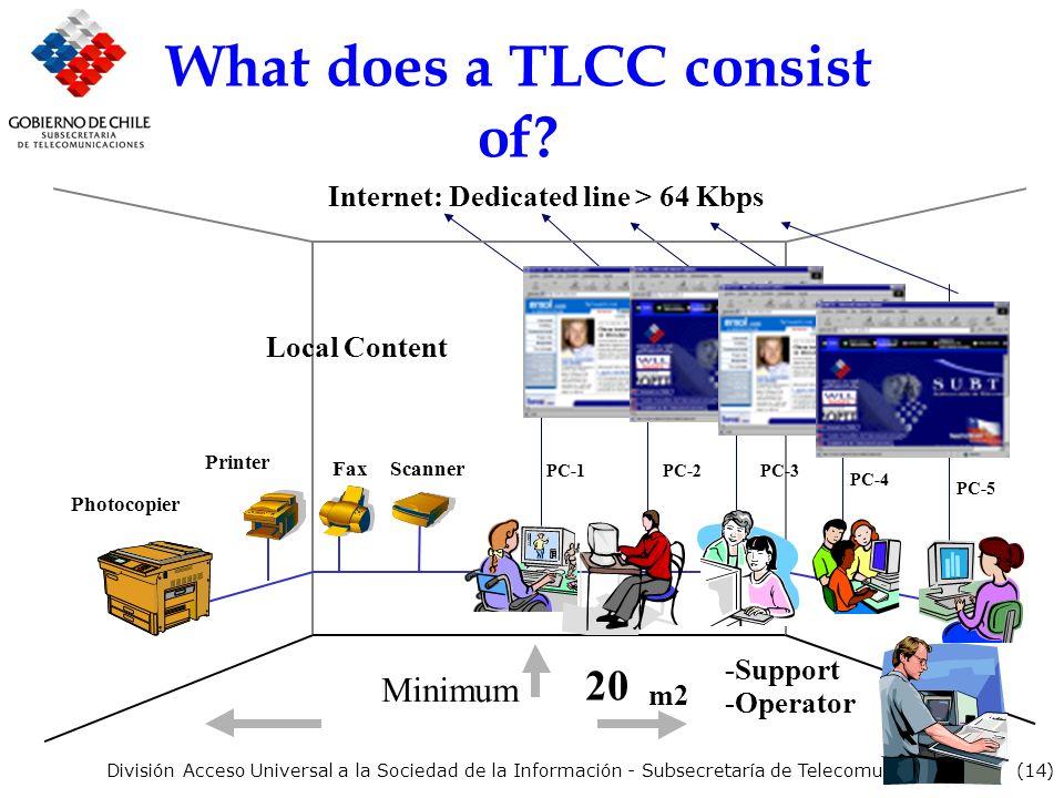(14) División Acceso Universal a la Sociedad de la Información - Subsecretaría de Telecomunicaciones What does a TLCC consist of.