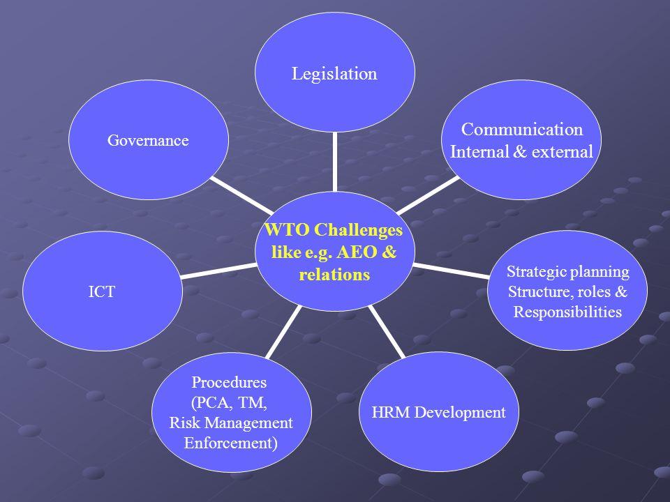 WTO Challenges like e.g. AEO & relations Legislation Communication Internal & external Strategic planning Structure, roles & Responsibilities HRM Deve