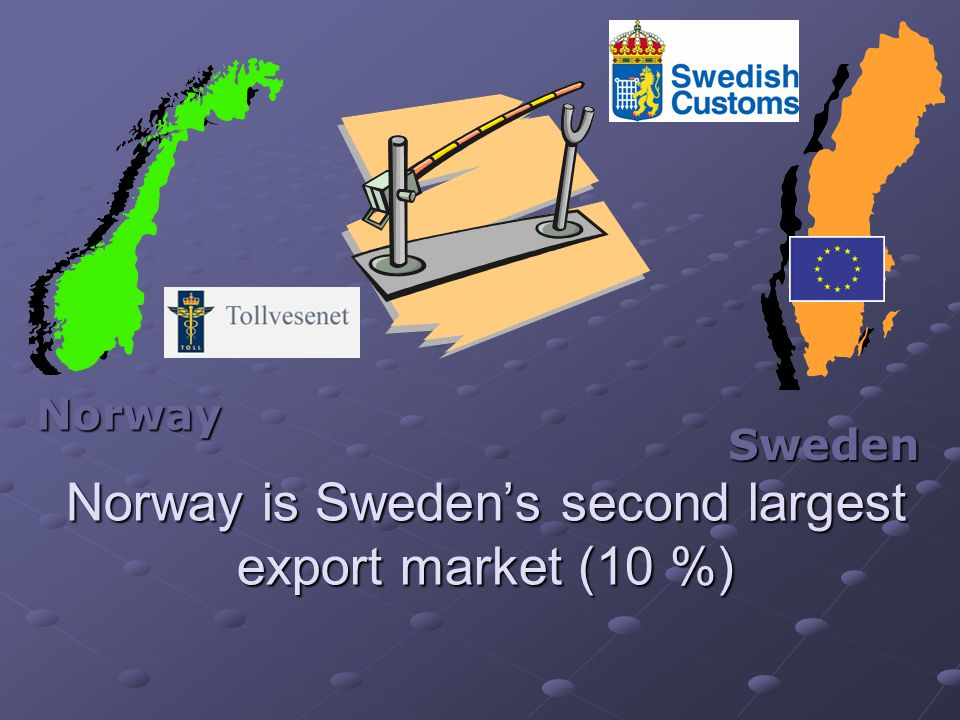 Norway Norway is Swedens second largest export market (10 %) Sweden