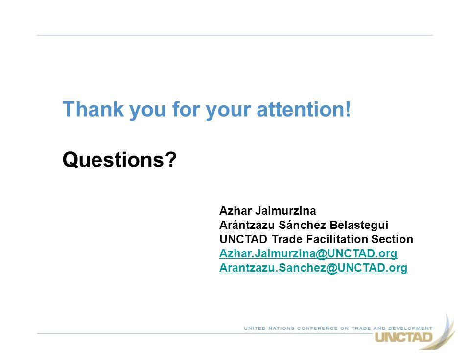 Thank you for your attention! Questions? Azhar Jaimurzina Arántzazu Sánchez Belastegui UNCTAD Trade Facilitation Section Azhar.Jaimurzina@UNCTAD.org A