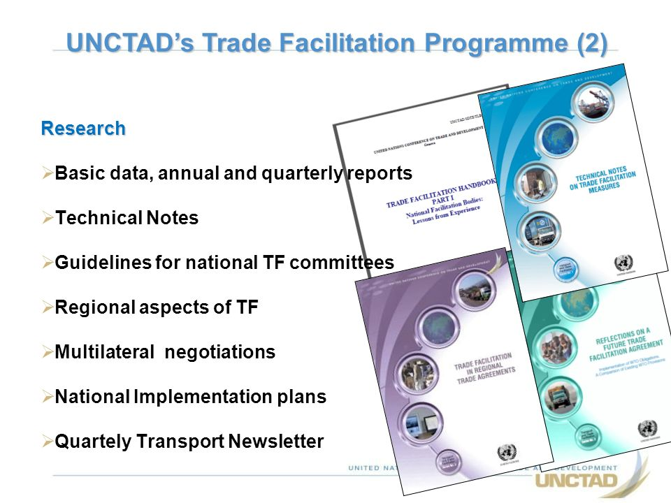 Research Basic data, annual and quarterly reports Technical Notes Guidelines for national TF committees Regional aspects of TF Multilateral negotiatio