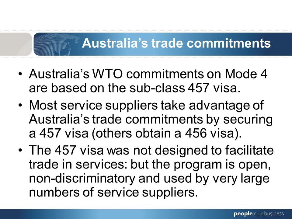 Australias WTO commitments on Mode 4 are based on the sub-class 457 visa.