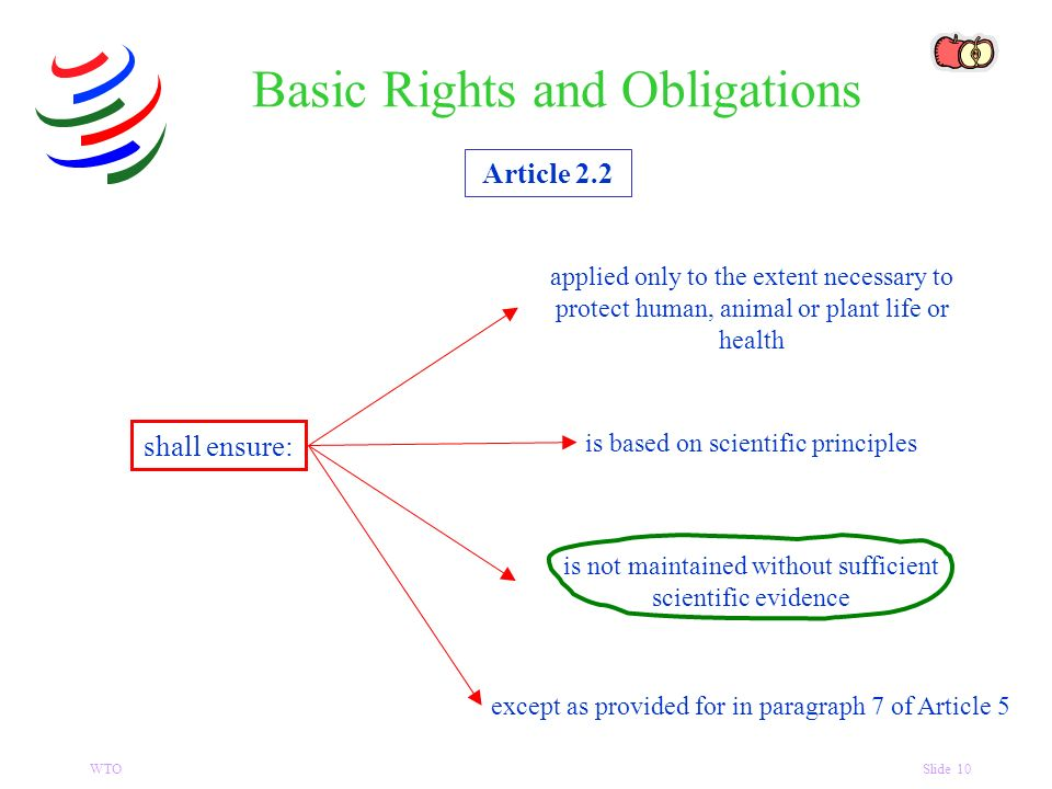 WTOSlide 10 Article 2.2 shall ensure: Basic Rights and Obligations applied only to the extent necessary to protect human, animal or plant life or health is based on scientific principles is not maintained without sufficient scientific evidence except as provided for in paragraph 7 of Article 5