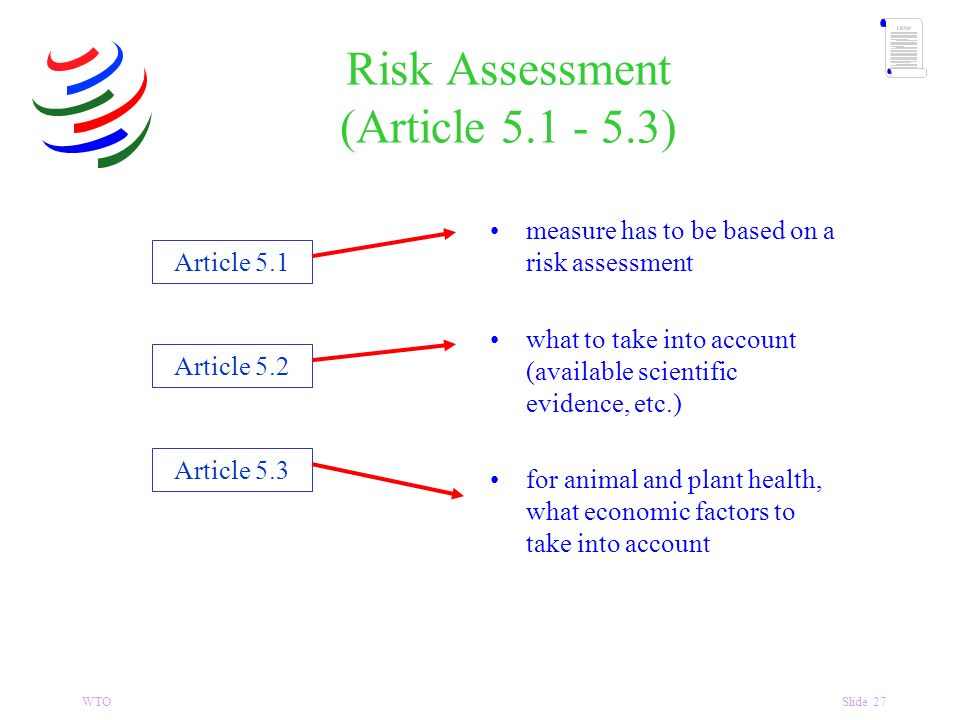 WTOSlide 27 Risk Assessment (Article 5.1 - 5.3) Article 5.1 Article 5.2 Article 5.3 measure has to be based on a risk assessment what to take into account (available scientific evidence, etc.) for animal and plant health, what economic factors to take into account
