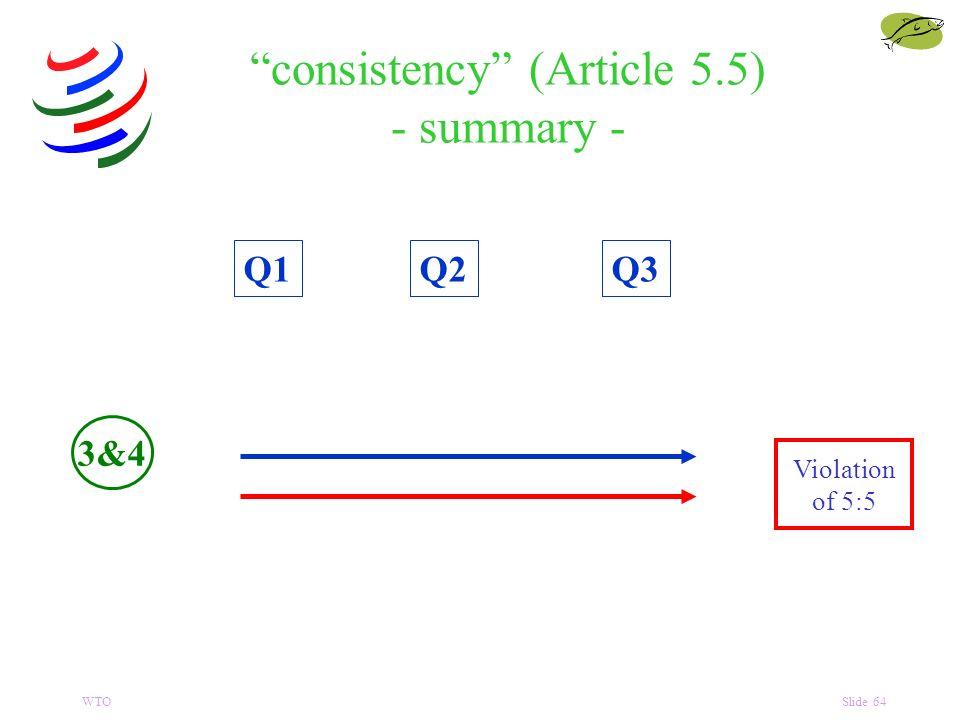 WTOSlide 64 consistency (Article 5.5) - summary - Q1Q3Q2 Violation of 5:5 3&4