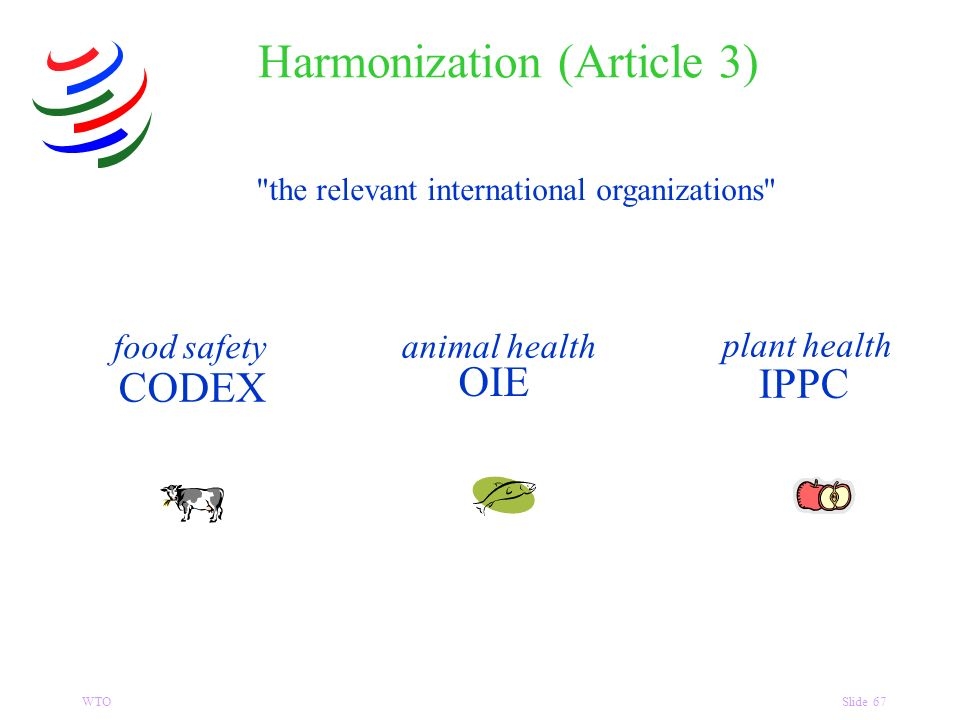 WTOSlide 67 the relevant international organizations food safety CODEX plant health IPPC animal health OIE Harmonization (Article 3)