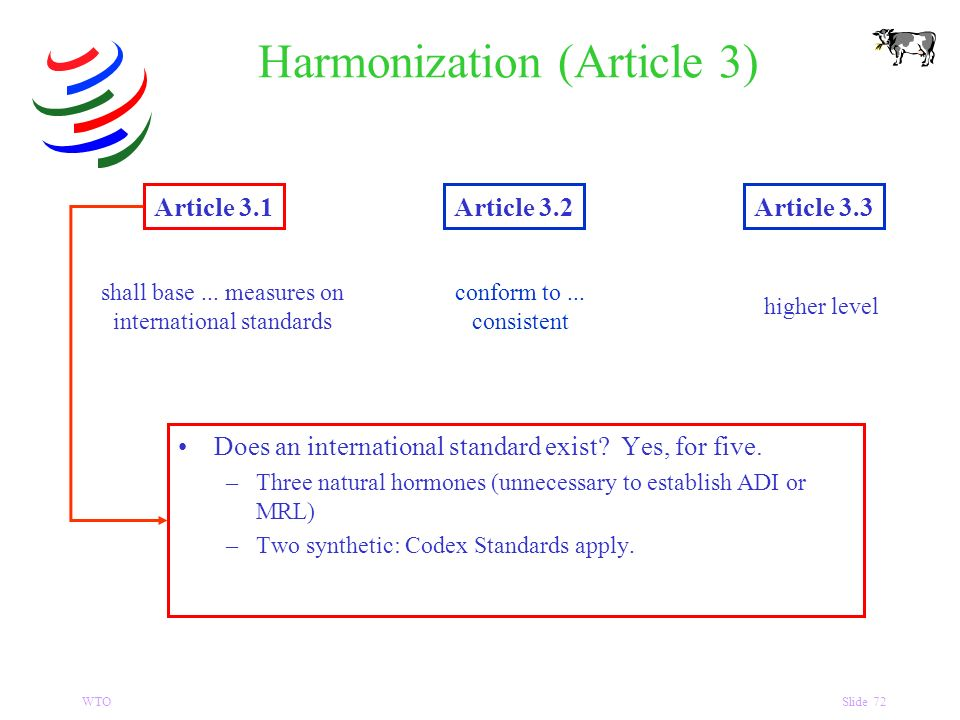 WTOSlide 72 Harmonization (Article 3) Article 3.1Article 3.2Article 3.3 shall base...