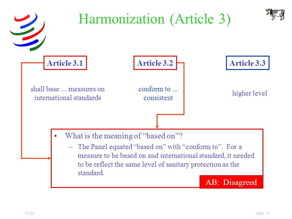 WTOSlide 73 Harmonization (Article 3) Article 3.1Article 3.2Article 3.3 shall base...