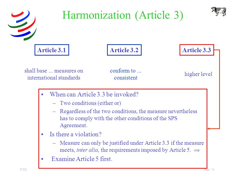 WTOSlide 76 Harmonization (Article 3) Article 3.1Article 3.2Article 3.3 shall base...