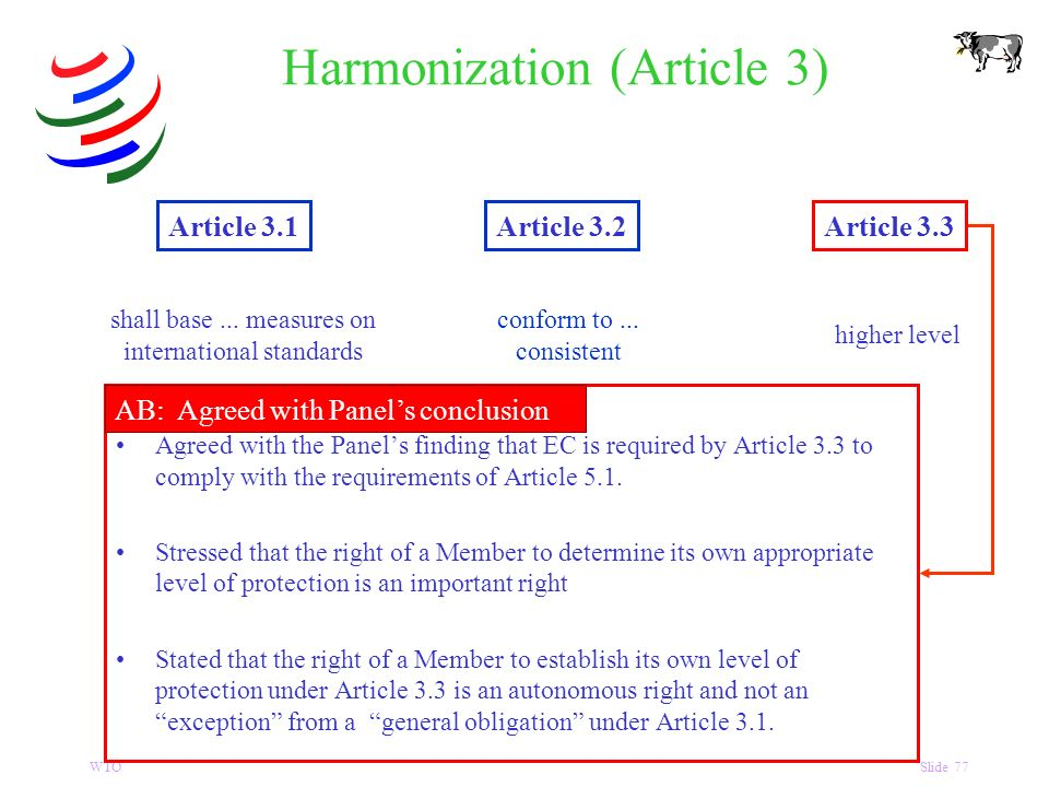 WTOSlide 77 Harmonization (Article 3) Article 3.1Article 3.2Article 3.3 shall base...