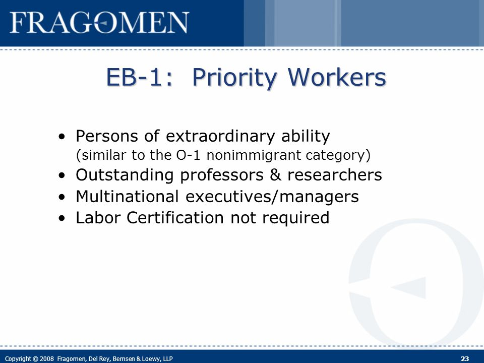 Copyright © 2008 Fragomen, Del Rey, Bernsen & Loewy, LLP 23 EB-1: Priority Workers Persons of extraordinary ability (similar to the O-1 nonimmigrant category) Outstanding professors & researchers Multinational executives/managers Labor Certification not required
