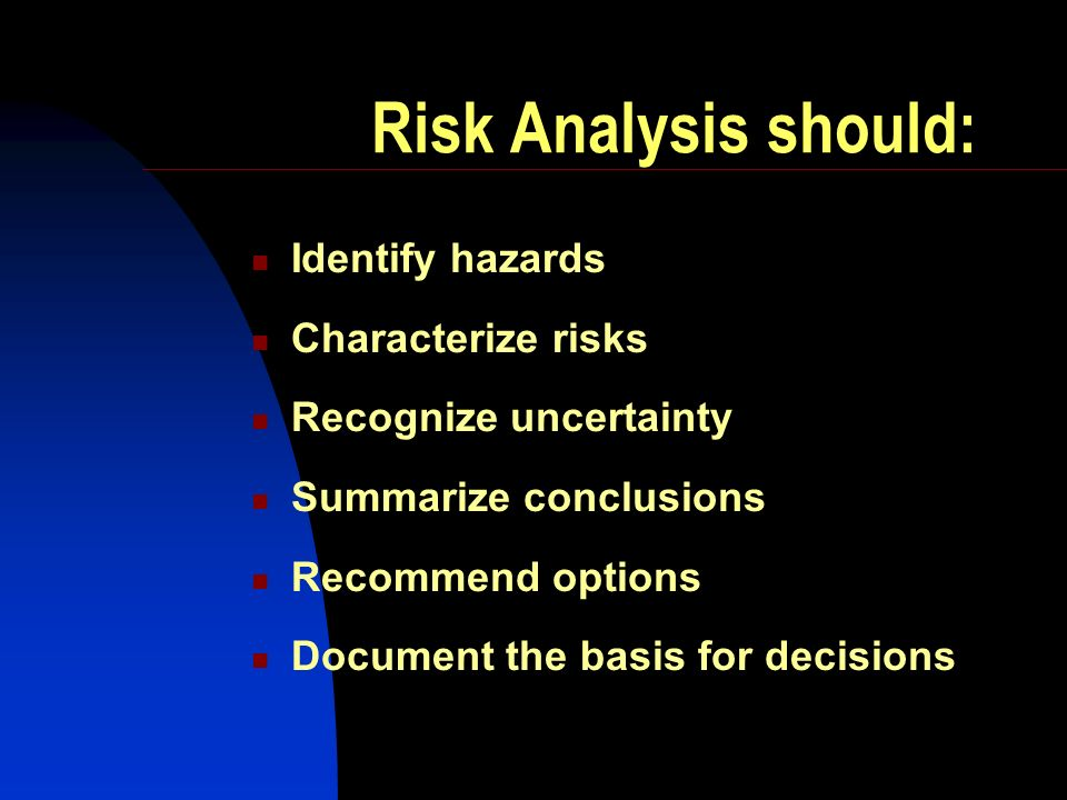 Risk Analysis should: Identify hazards Characterize risks Recognize uncertainty Summarize conclusions Recommend options Document the basis for decisio