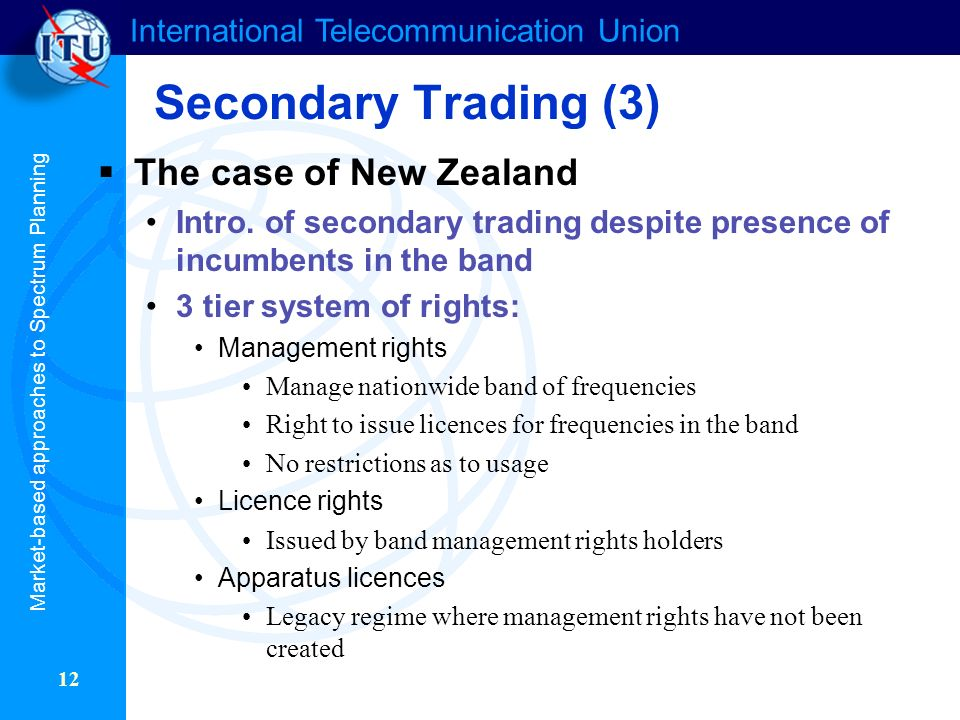 International Telecommunication Union 12 The case of New Zealand Intro.