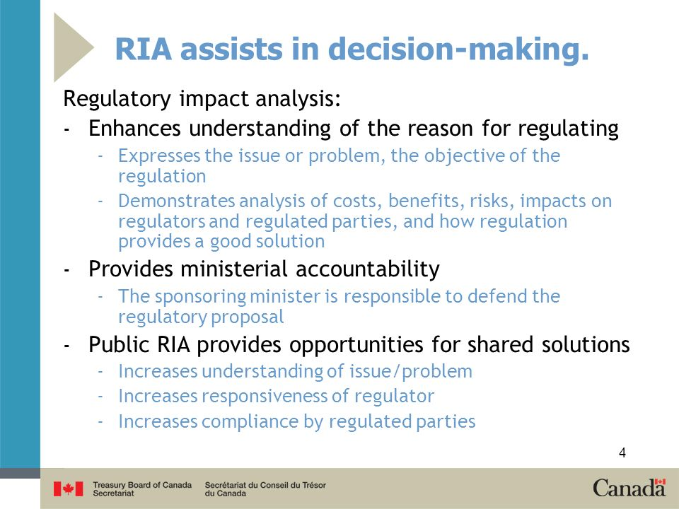 RIA assists in decision-making. Regulatory impact analysis: - Enhances understanding of the reason for regulating -Expresses the issue or problem, the