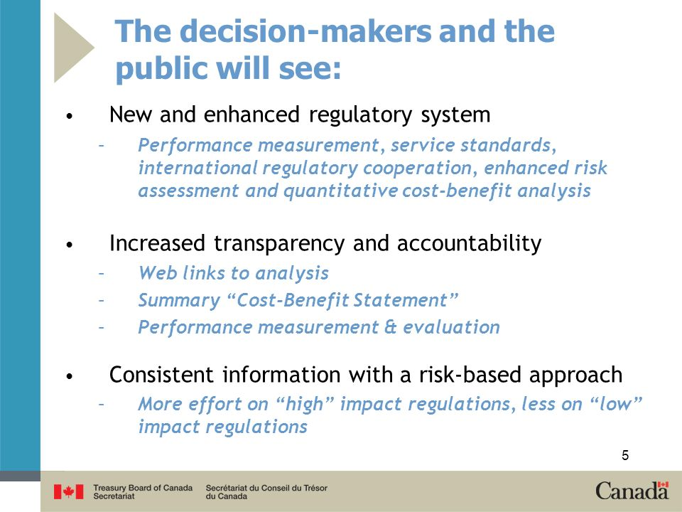 The decision-makers and the public will see: New and enhanced regulatory system –Performance measurement, service standards, international regulatory