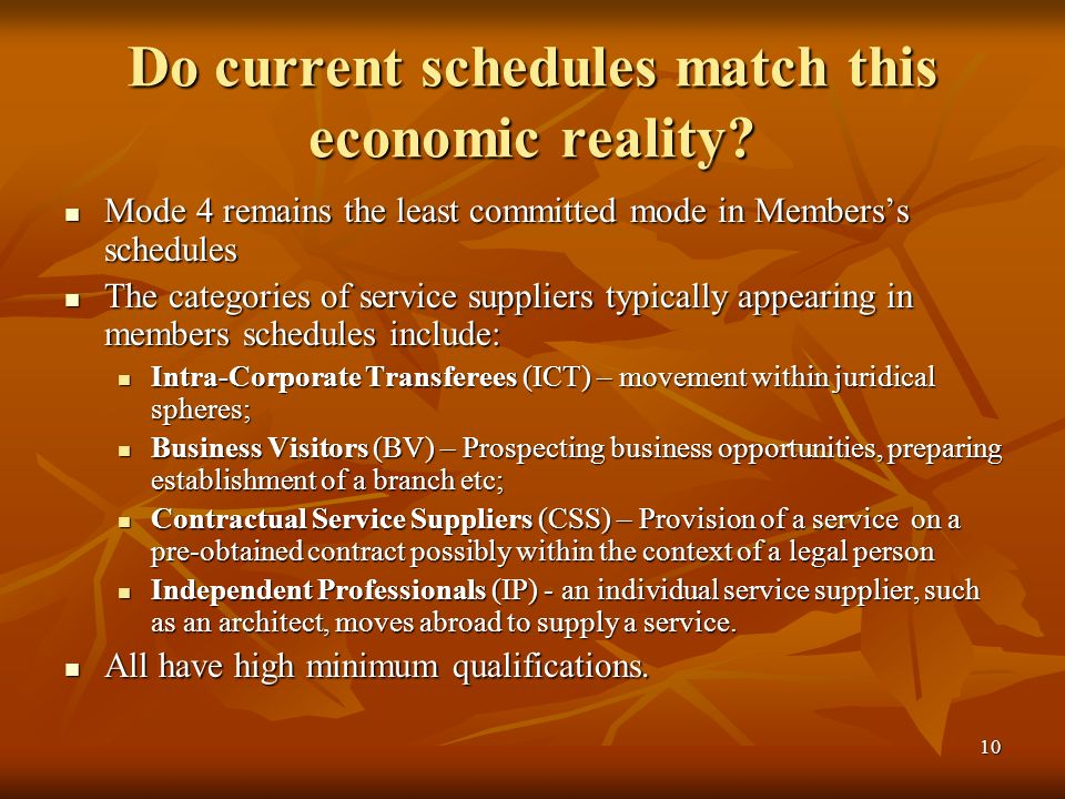 10 Do current schedules match this economic reality.