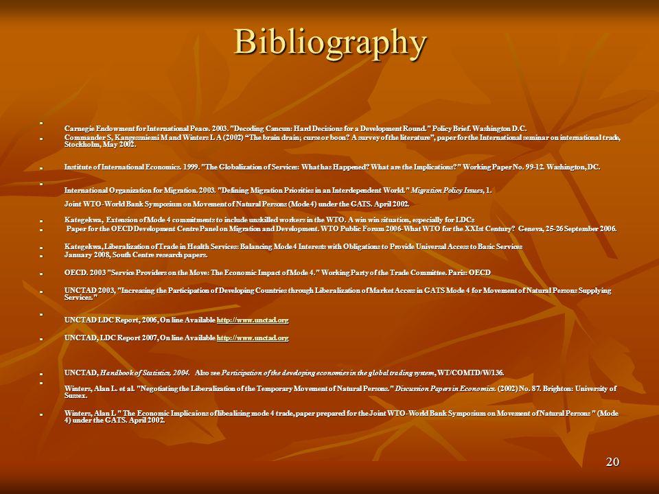 20 Bibliography Carnegie Endowment for International Peace. 2003.