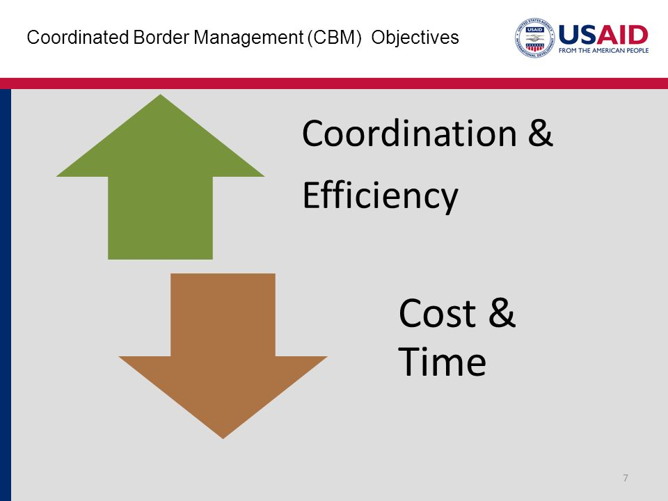 Coordinated Border Management (CBM) Objectives 7 Coordination & Efficiency Cost & Time