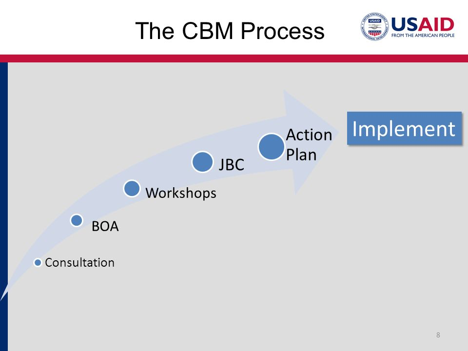 The CBM Process 8 Consultation BOA Workshops JBC Action Plan Implement