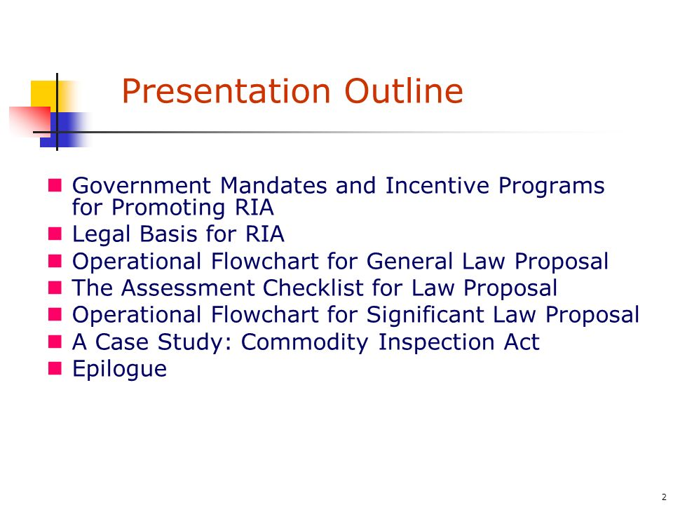 13 A Case Study – Amendment of the Commodity Inspection Act (1/4) Participating agencies: - Committee of Laws and Regulations, The Cabinet - Council for Economic Planning and Development (CEPD) - Research, Development, and Evaluation Commission - Bureau of Standards, Metrology, and Inspection, MOEA 6 meetings (3 hours long) + 175 men hour 17 proposed amendments are reviewed via the aforementioned process 2 of the 17 proposed amendments are dropped after the process 3 of the 17 proposed amendments are chosen as materials for writing a demonstrating RIA report