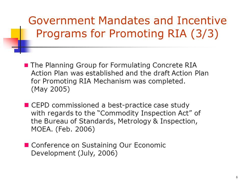 17 Checklist Forum [June 27, 2006] APEC-OECD Integrated Checklist on Regulatory Reform