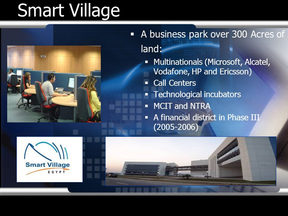 Smart Village A business park over 300 Acres of land: Multinationals (Microsoft, Alcatel, Vodafone, HP and Ericsson) Call Centers Technological incuba