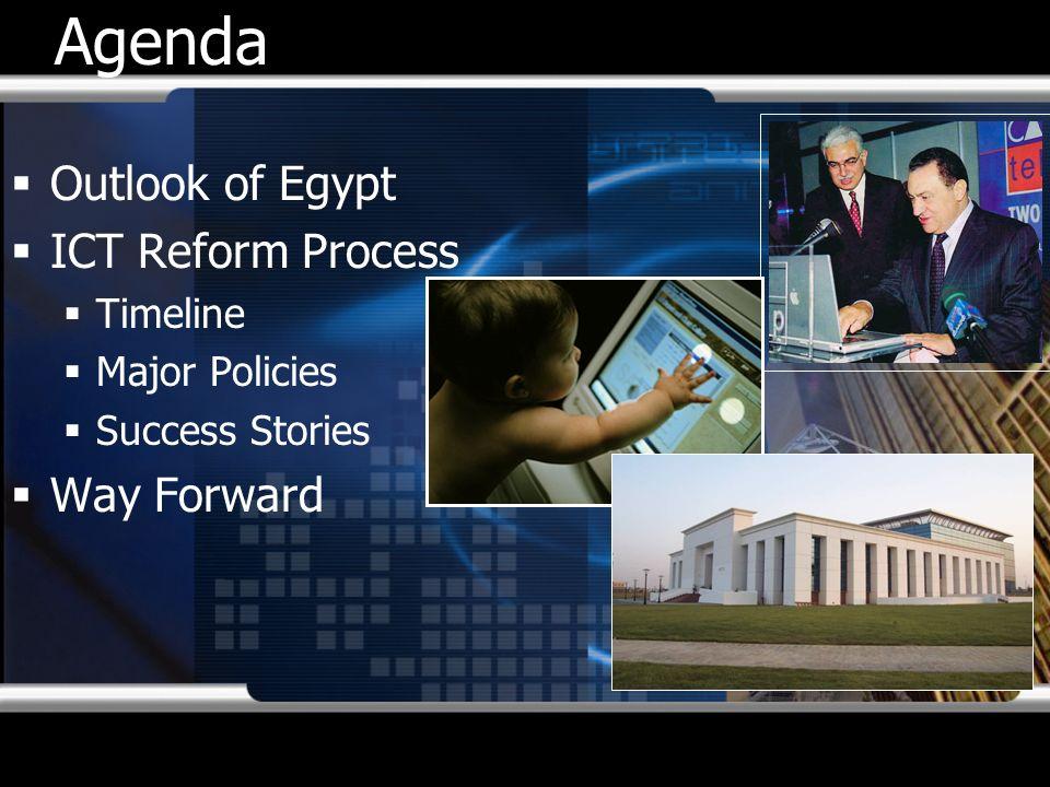 Agenda Outlook of Egypt ICT Reform Process Timeline Major Policies Success Stories Way Forward