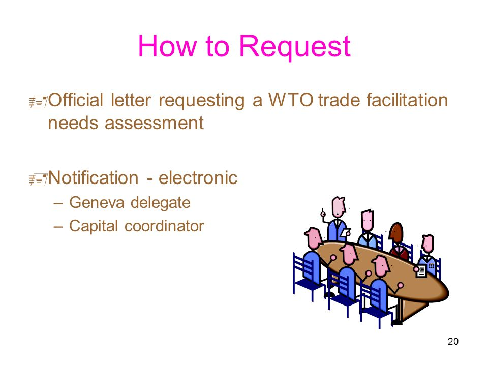 20 How to Request Official letter requesting a WTO trade facilitation needs assessment Notification - electronic –Geneva delegate –Capital coordinator