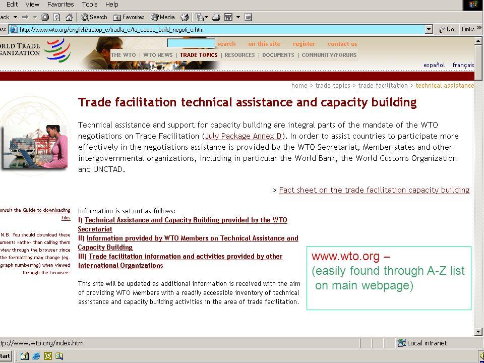 23 www.wto.org – (easily found through A-Z list on main webpage)