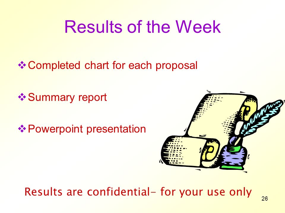 26 Results of the Week Completed chart for each proposal Summary report Powerpoint presentation Results are confidential- for your use only